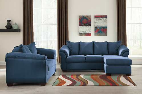 Darcy Blue Sofa Chaise & Loveseat