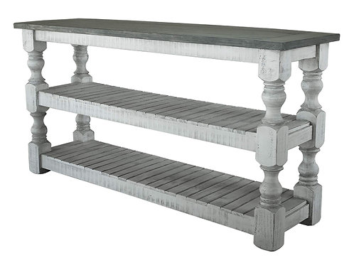 Stone Ivory Antiqued/Weathered Gray Sofa Table