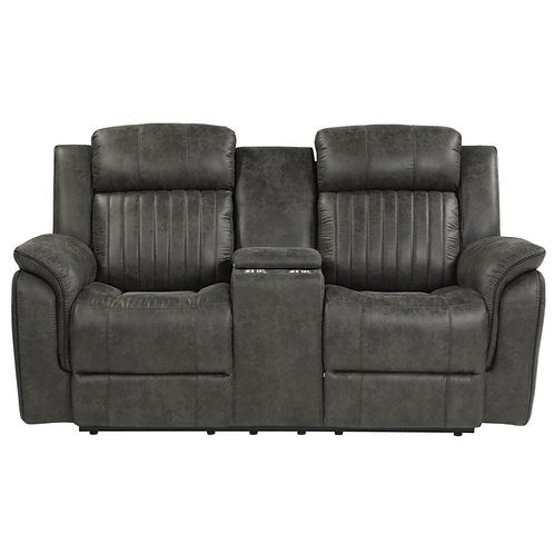 Centeroak Brownish-Gray Double Reclining Loveseat w/ Console