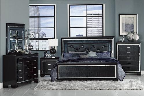 Allura Black LED Queen Bedroom Set