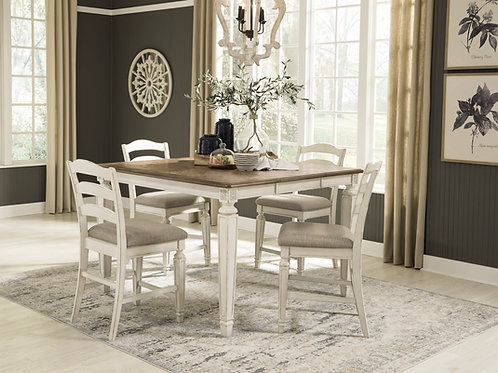 Reayln Square Counter Height Extension Table and Four Chairs