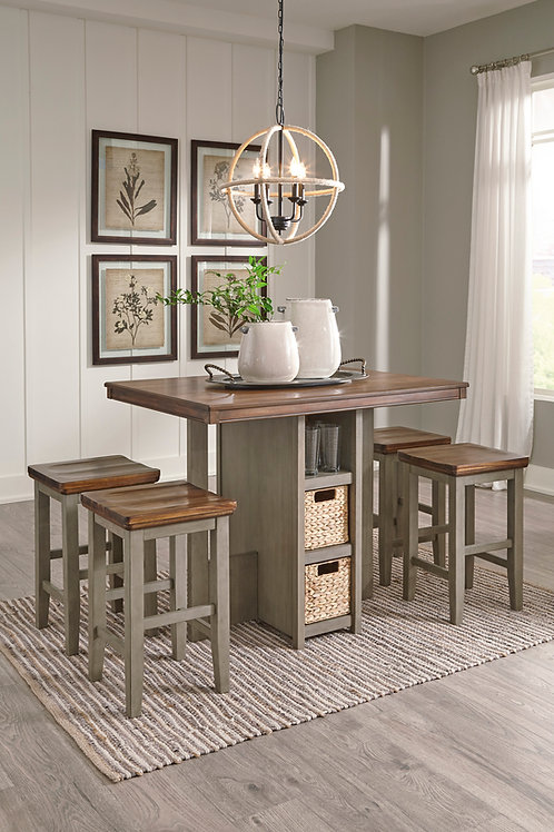 Lettner Rectangular Counter Height Table and Four Four Chairs