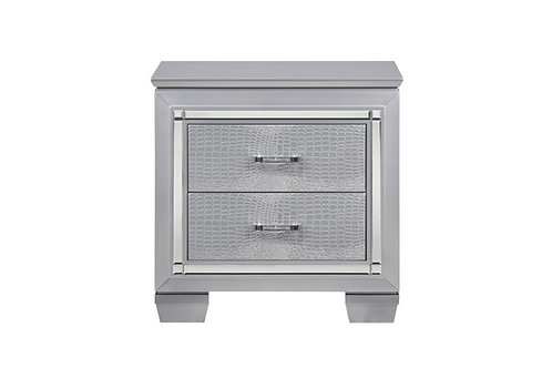 Allura Silver Two Drawer LED Nightstand