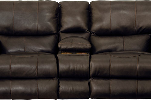 Wembley Chocolate Leather Lay Flat Reclining Loveseat w/Console