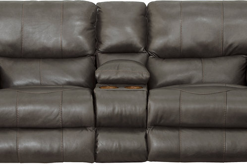 Wembley Steel Leather Lay Flat Reclining Loveseat w/Console