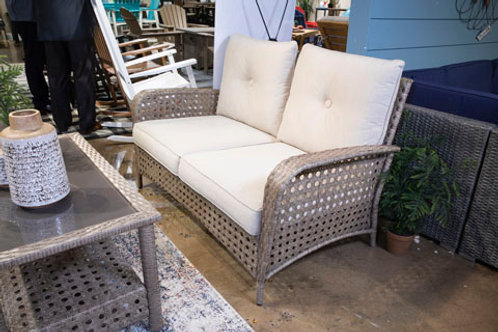 Braylee Driftwood Outdoor Loveseat with Table