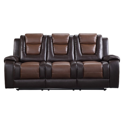 Briscoe Brown Faux Leather Reclining Sofa
