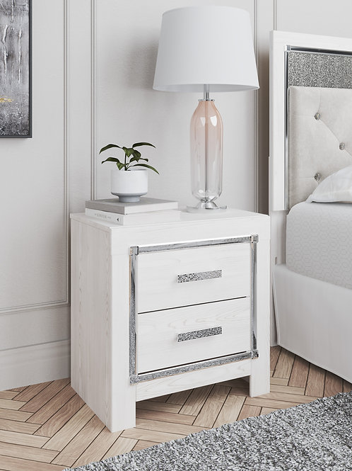 Altyra White Two Drawer Nightstand