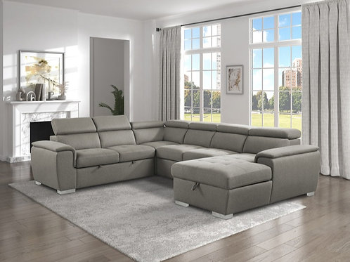 Berel Brown 4PC Sectional w/ Pull-out Bed & ADJ Headrests