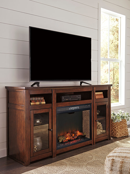 "Harpan Reddish Brown 72"" TV Stand with Fireplace Insert"