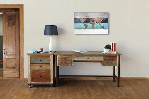 Antique Multicolor 5-Drawer Desk