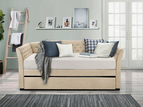 Beige Tufted Daybed w/ Trundle