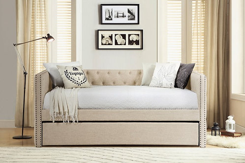Beige Nailhead Daybed w/ Trundle