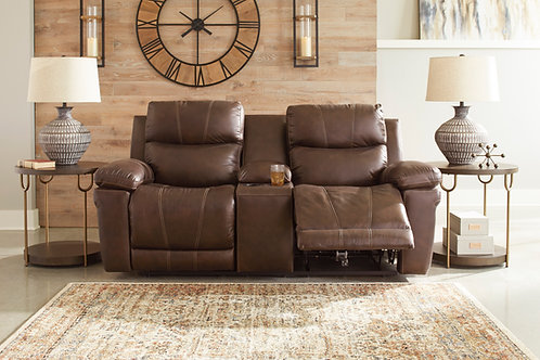 Edmar Chocolate Power Reclining Loveseat with Console