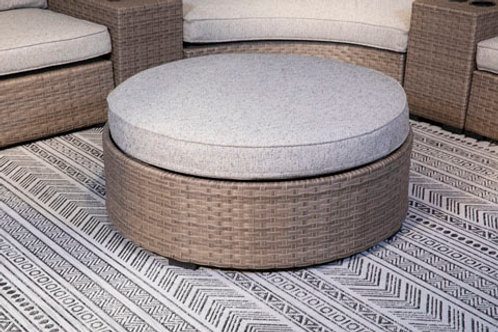 Calworth Beige Outdoor Ottoman with Cushion