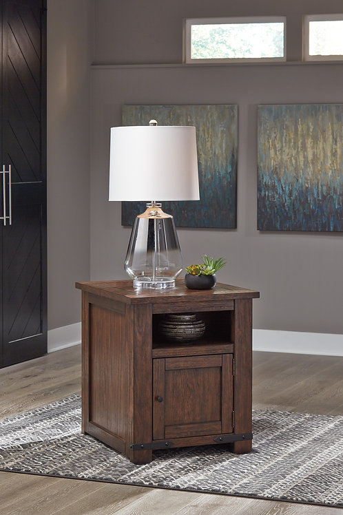 Budmore Rustic Brown End Table w/ USB Port
