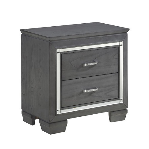 Allura Gray Two Drawer LED Nightstand