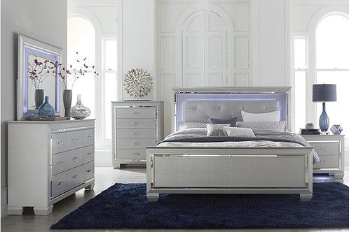 Allura Silver LED Queen Bedroom Set