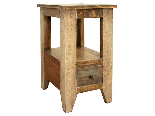 Antique Multicolor Light Brown Chair Side End Table