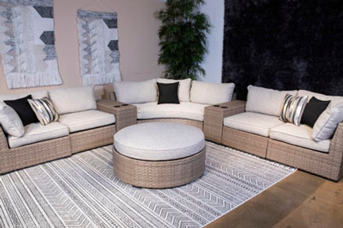 Calworth Beige Outdoor Sectional with Cushions