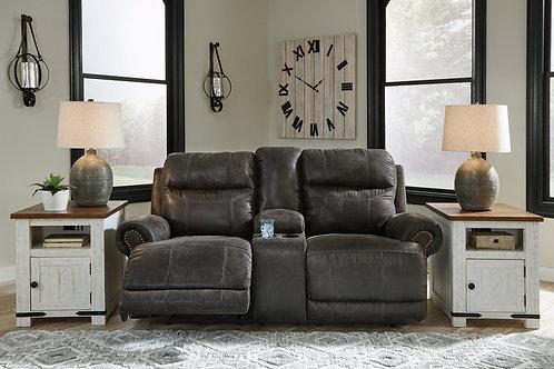 Grearview Charcoal Power Reclining Loveseat w/ Adjustable Headrest