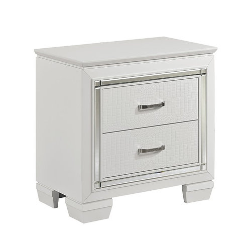 Allura White Two Drawer LED Nightstand