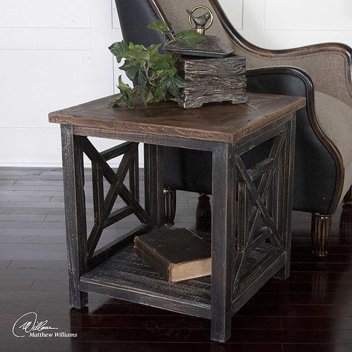 Spiro Brushed Black End Table