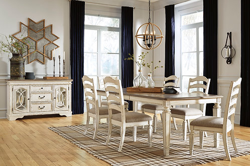 Realyn Rectangle Dining Extension Table & Six Chairs