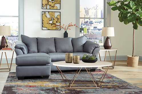 Darcy Steel Sofa Chaise and Loveseat