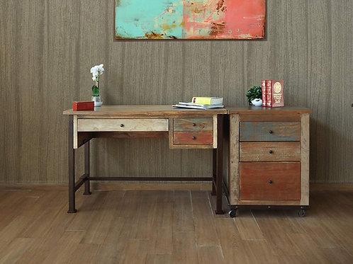 Antique Multicolor 3-Drawer Desk