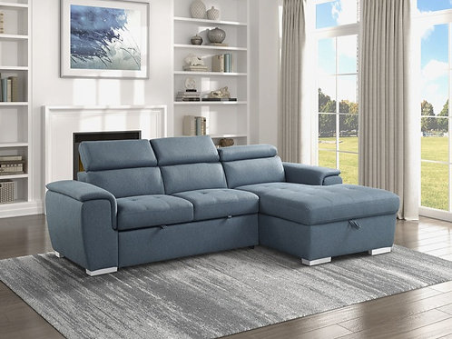 Berel Blue 2PC Sectional w/ Pull-out Bed & ADJ Headrests
