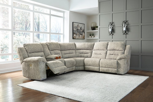 Family Den Pewter Sectional w/ LAF Console