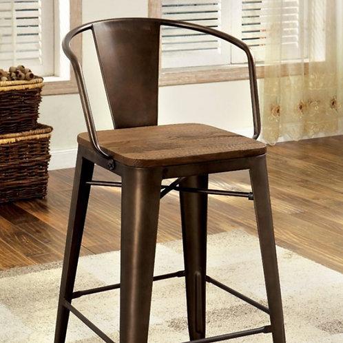 Cooper Dark Bronze/Dark Oak Industrial Barstools