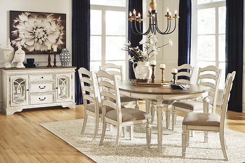 Realyn Oval Dining Extension Table & Six Chairs