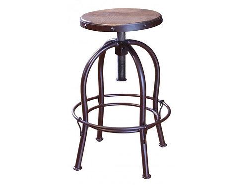 Antique Multicolored Round Barstool