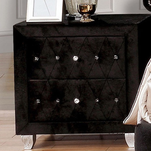 Alzire Black Tufted Nightstand
