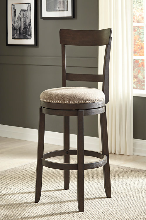 Drewing Brown Tall Upholstered Swivel Barstools