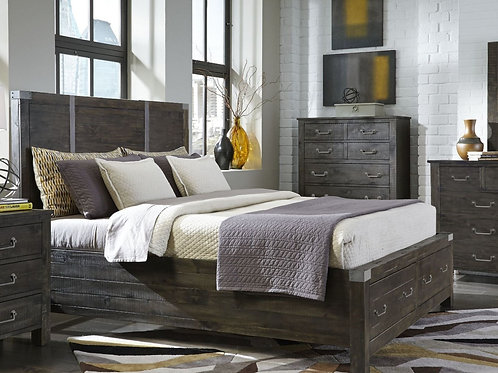 Abington Weathered Charcoal Storage Bed