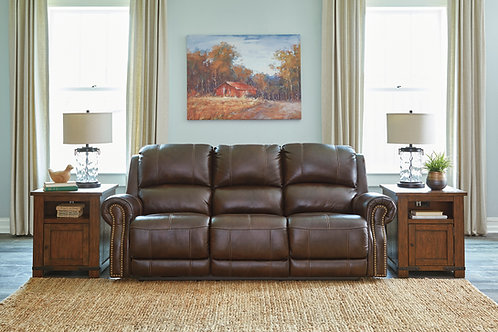 Buncrana Chocolate Power Reclining Sofa w/ Adjustable Headrest