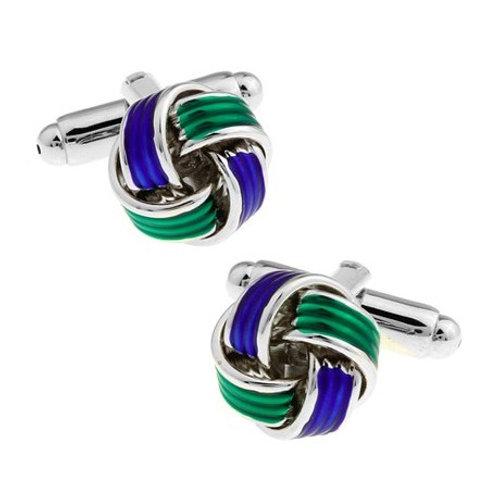 Green, Blue, & Silver Knot Cufflink