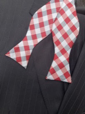 Red, Grey and Silver Checkered Woven Self-Tie Bow Tie