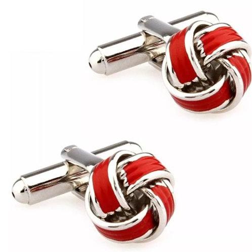 Red & Silver Knot Cufflink