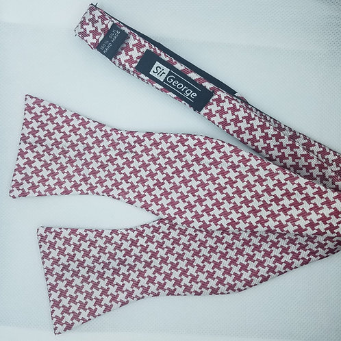 Houndstooth Red & White Self-Tie Bow Tie