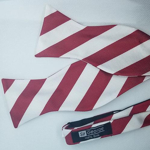 Red & White College Stripe Self-Tie Bow Tie