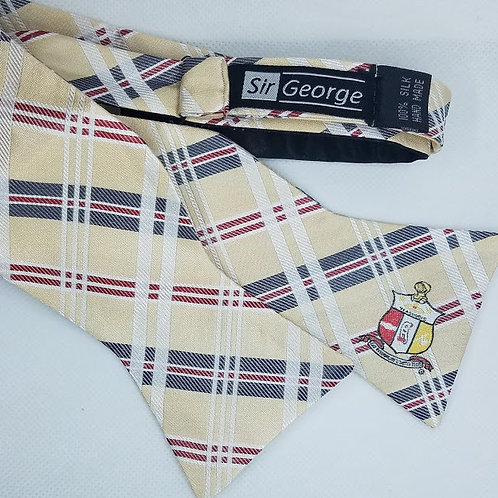The Shield with Cream on Cream Plaid Self-Tie Bow Tie