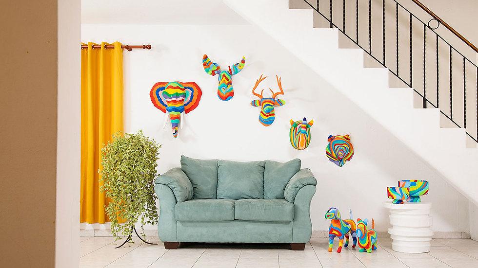Papier mache decorative accessories painted in rainbow colors