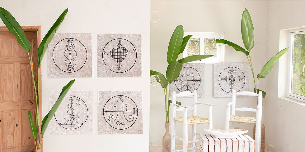 Papier mache and sisal wall art with veve symbols