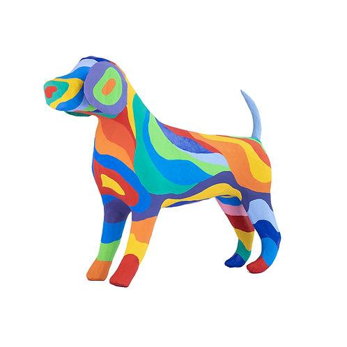 BELLO THE RAINBOW BEAGLE PAPIER MACHE DOG