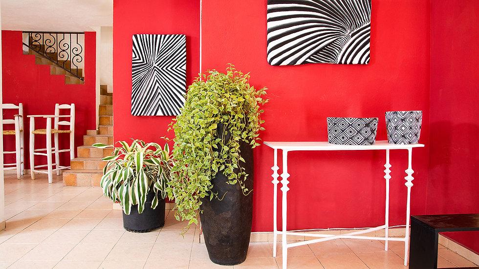 Papier mache home decor in black and white
