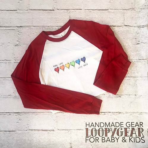 More Love Less Hate Adult T-Shirt with Red Baseball Sleeve